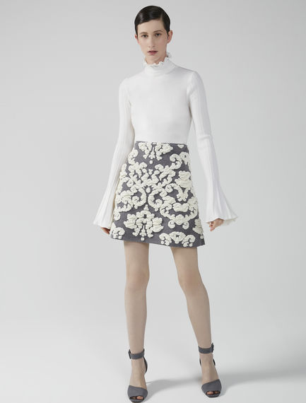 Velvet Jacquard Mini Skirt