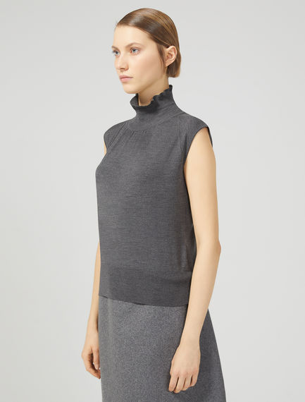 Sleeveless High Neck Sweater