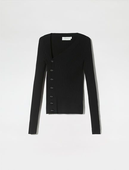 Button-detail Asymmetric Knit Sweater