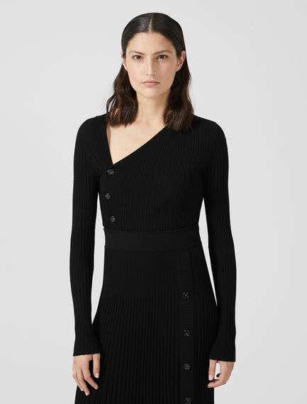 Button-detail Asymmetric Knit Sweater Sportmax