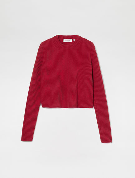 Ribbed Wool Crew Neck Sweater