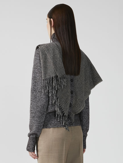 Layered Scarf Roll Neck Sweater