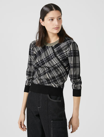Jacquard Knit Check Sweater