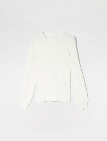 Structured Sleeve Viscose Sweater