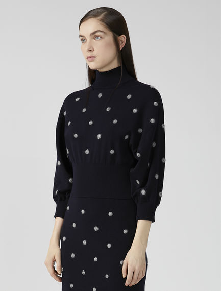 Balloon Sleeve Dot Sweater