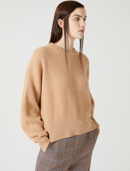 Wool Cashmere Balloon Sleeve Sweater