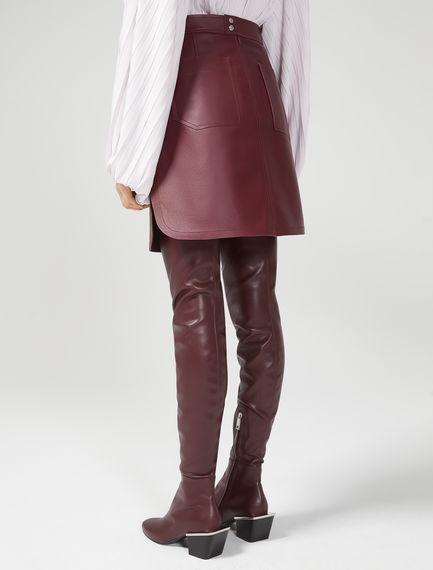 Tabbed Nappa Leather Mini Skirt