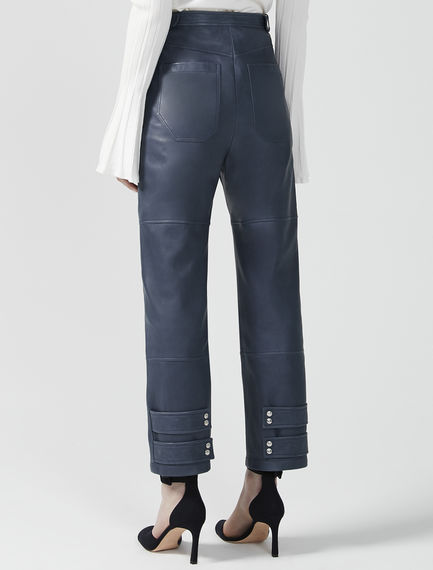Buckled Nappa Leather Trousers