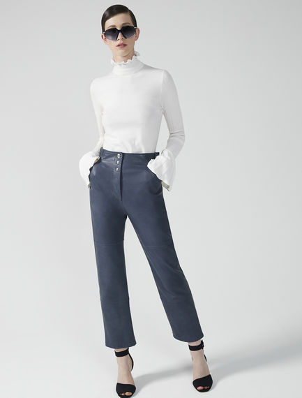 Buckled Nappa Leather Trousers Sportmax