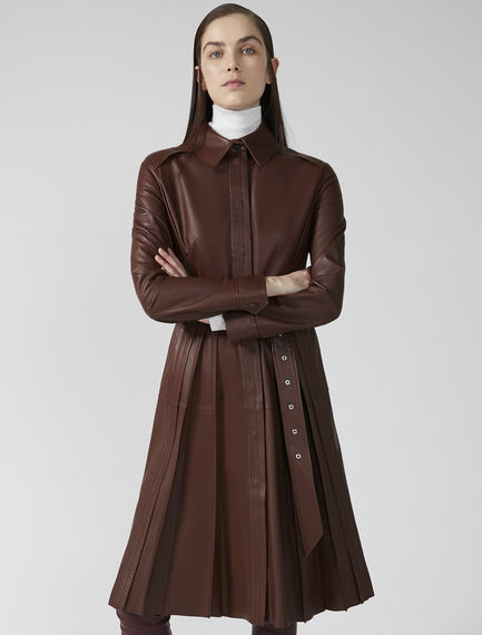 Pleated Nappa Leather Overcoat