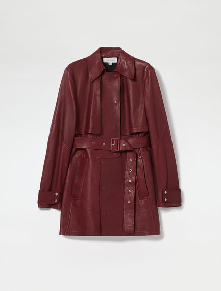 Nappa Leather Mini Trench Coat