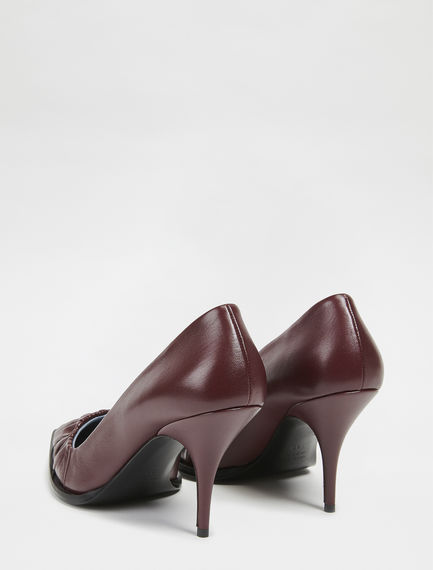 Nappa Leather Ruched Stilettos