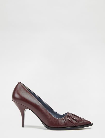 Nappa Leather Ruched Stilettos Sportmax
