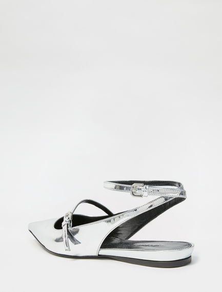 Mirrored Calfskin Ballerina Pumps