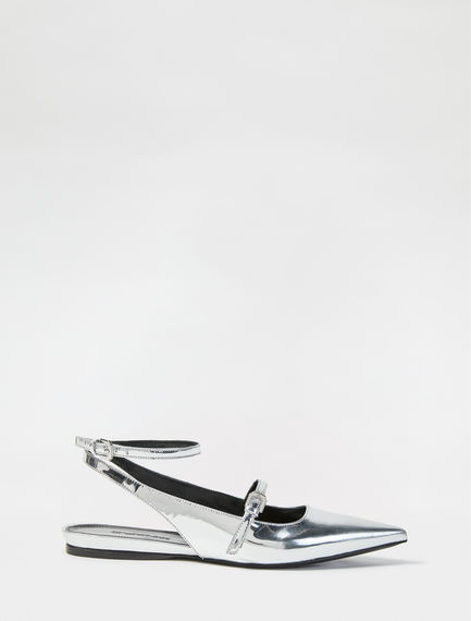 Mirrored Calfskin Ballerina Pumps Sportmax