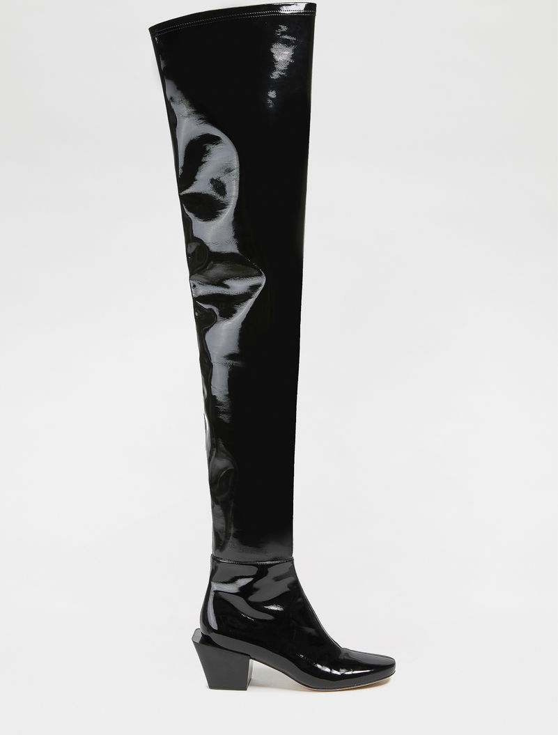 Patent leather effect Over-the-knee