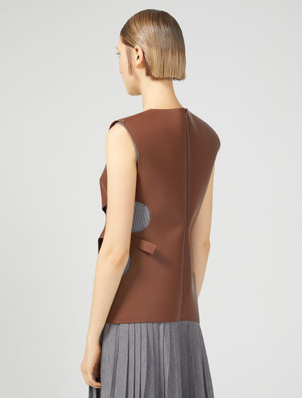 Sleeveless Leather effect Top