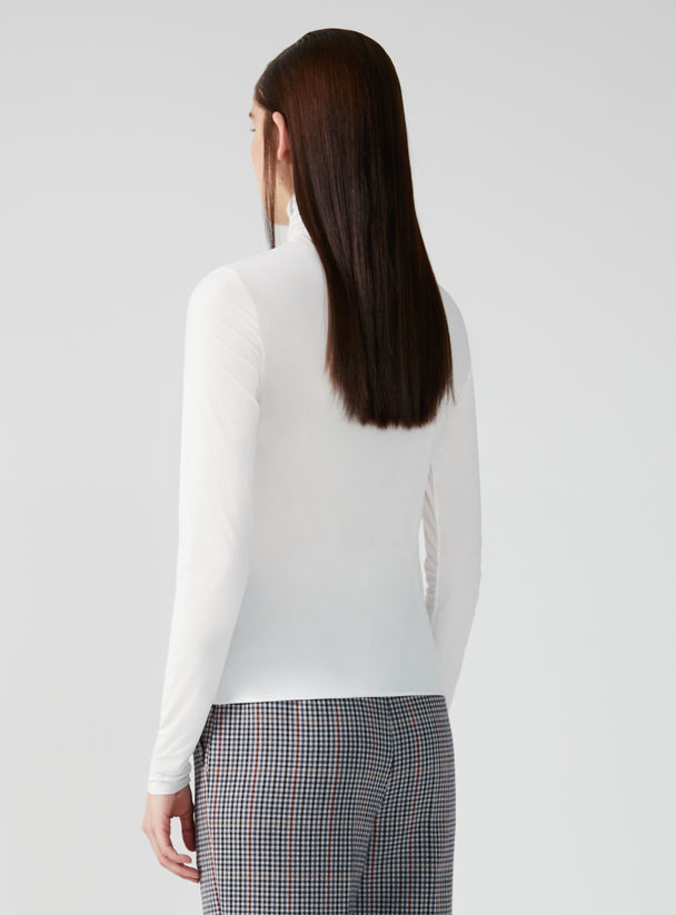 Double Jersey Roll Neck Top