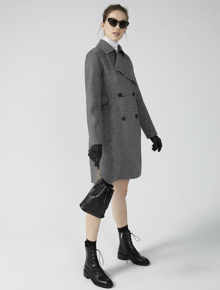 Tailored Houndstooth Trench Coat