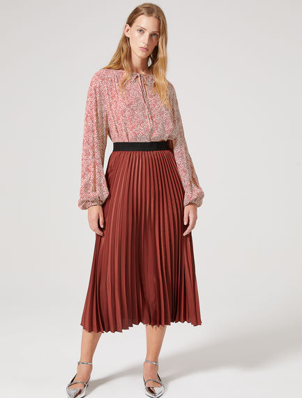 Lustrous Sunray Pleat Crepe Skirt Sportmax