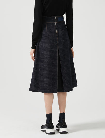 Tailored Jacquard Denim Pleat Skirt