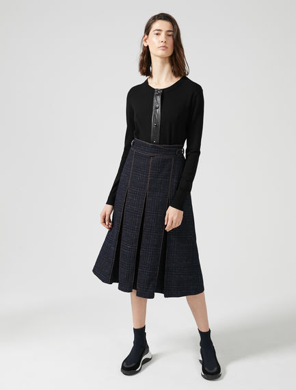 Tailored Jacquard Denim Pleat Skirt Sportmax