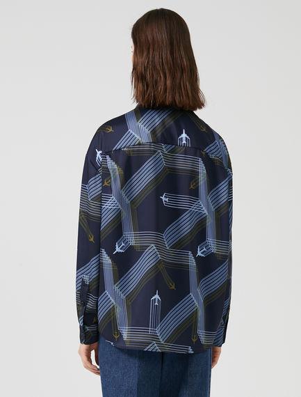 Geometric Plane Print Shirt