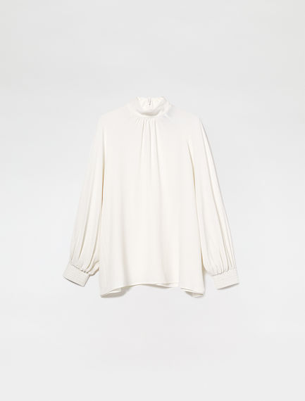 Silk Crepe Raglan Blouse