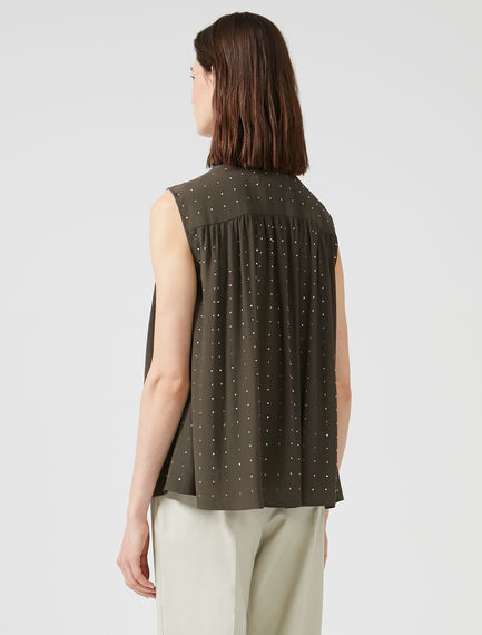 Rhinestone-embellished Sleeveless Shirt