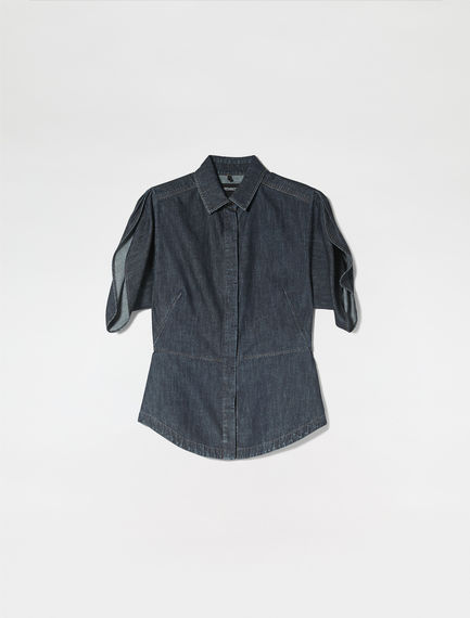 Tulip Sleeve Denim Shirt