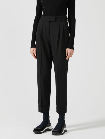 Tapered Turn-up Wool Trousers