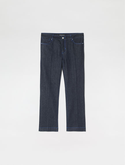 Top-stitched Low-rise Flared Jeans