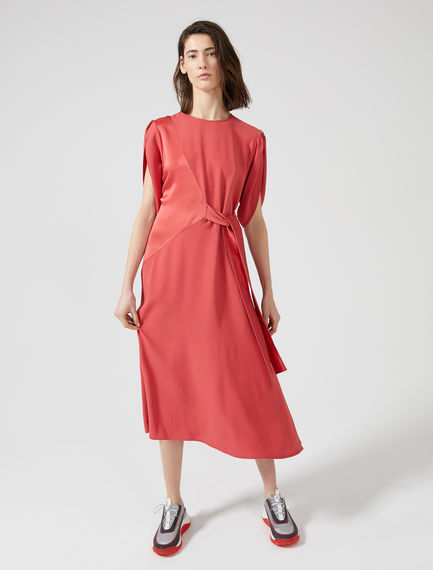 Tie-front Two-texture Dress
