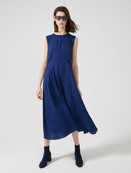 Sleeveless Jacquard Dot Dress