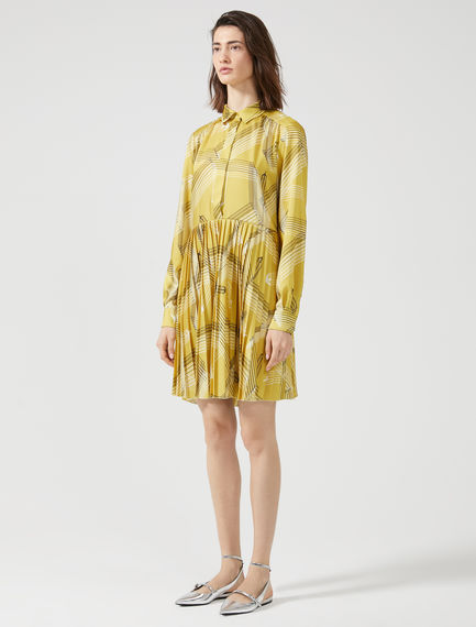 Plane Print Sunray Pleat Dress