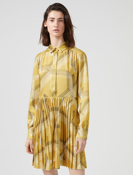Plane Print Sunray Pleat Dress Sportmax