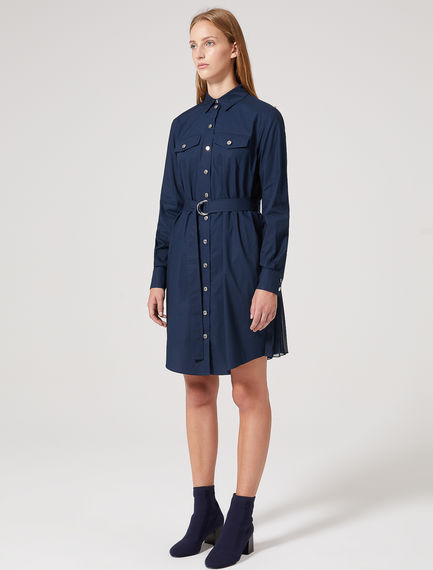 Pleat-back Poplin Shirt Dress