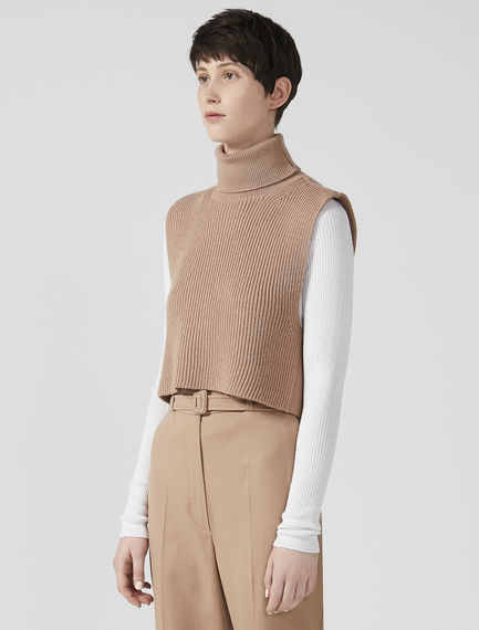 Roll Neck Ribbed Wool Tank
