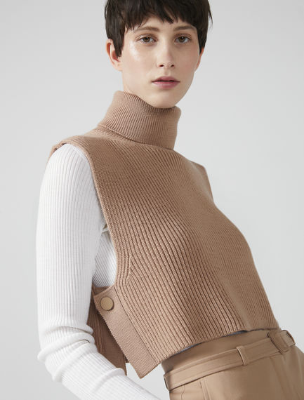 Roll Neck Ribbed Wool Tank Sportmax