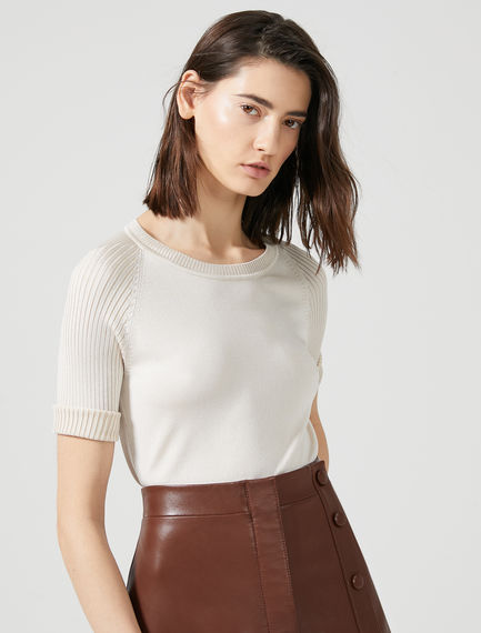 Ribbed Raglan Sleeve T-Shirt Sportmax
