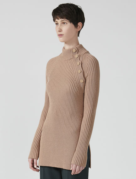 Asymmetric Button Ribbed Wool Sweater