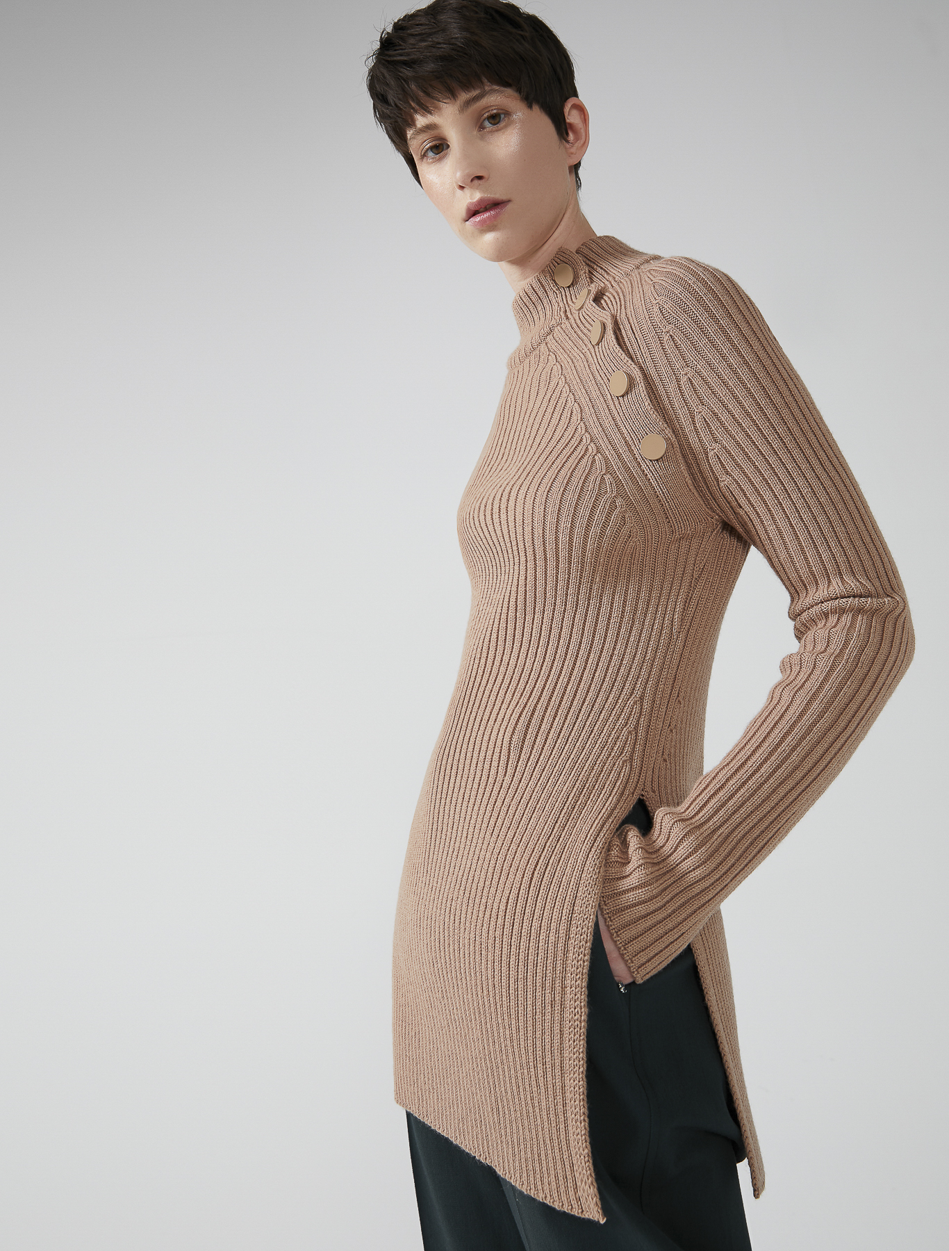 Asymmetric Button Ribbed Wool Sweater Camel Sportmax