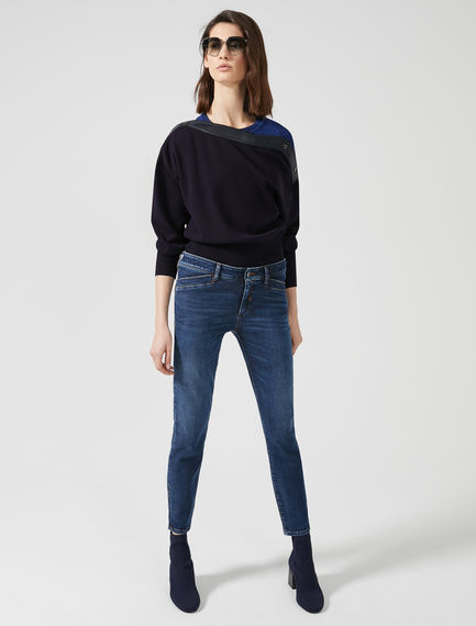 Asymmetric Neck Viscose Sweater