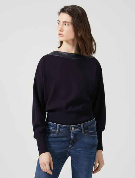 Asymmetric Neck Viscose Sweater Sportmax