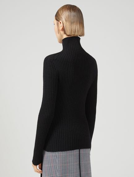 Ribbed Wool Roll Neck Sweater