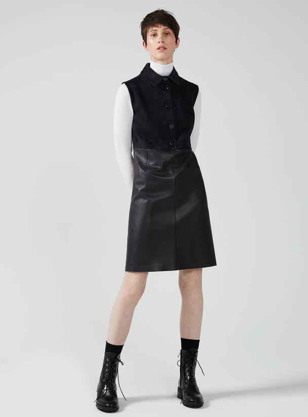 Sleeveless Nappa & Suede Mini Dress Sportmax