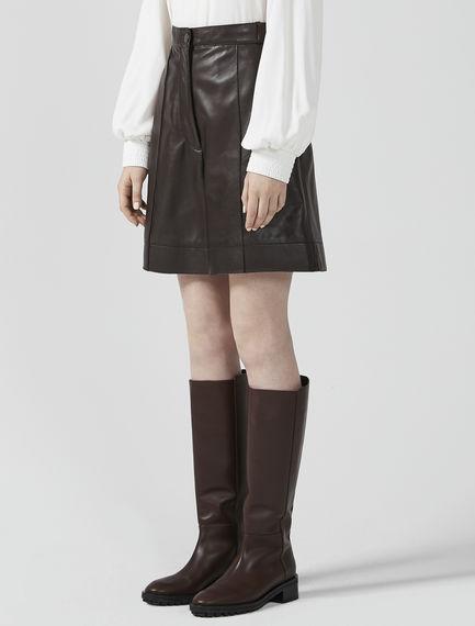 High Waist Nappa Leather Shorts