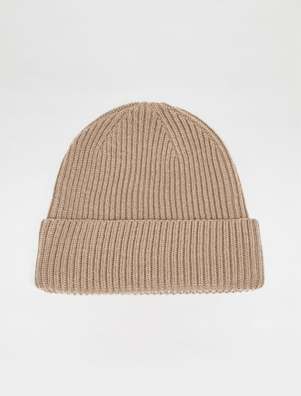 Ribbed Wool Beanie Hat