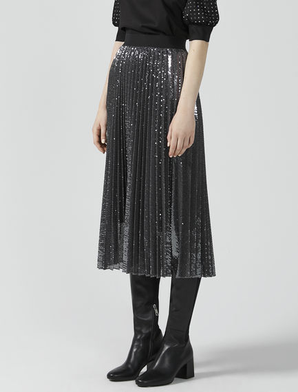 Sequinned Sunray Pleat Skirt
