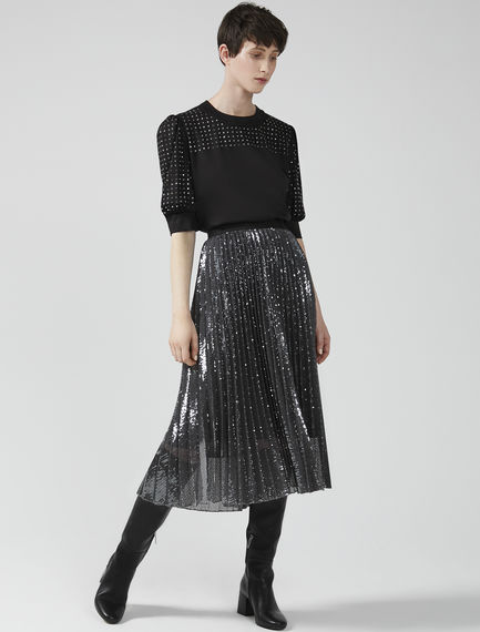 Sequinned Sunray Pleat Skirt Sportmax